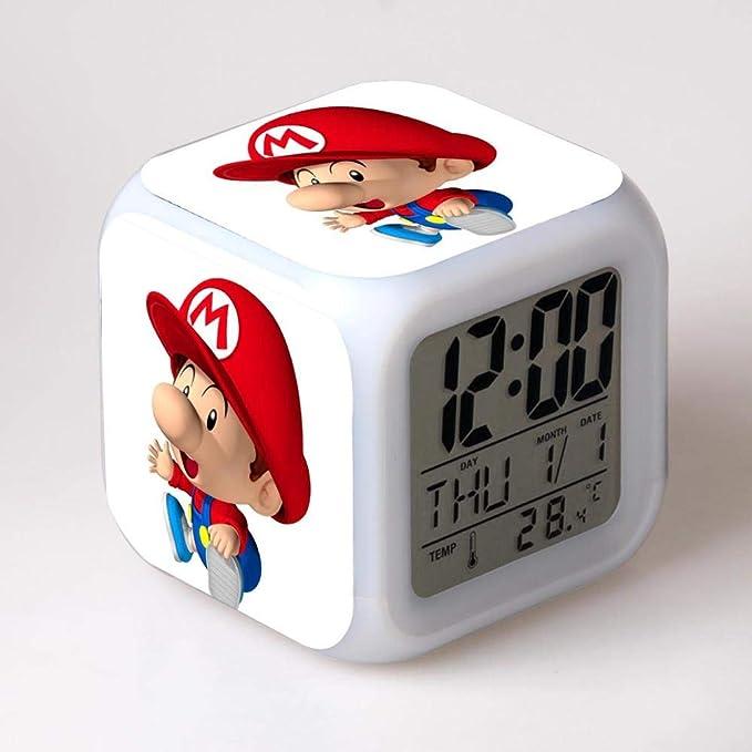 Amazon.com: USB Cable+Gift Box Super Mario LED Digital Alarm Clock horloge Digitale LED Night Light 7 Color Flash reloj despertador Watches: Home Audio & ...