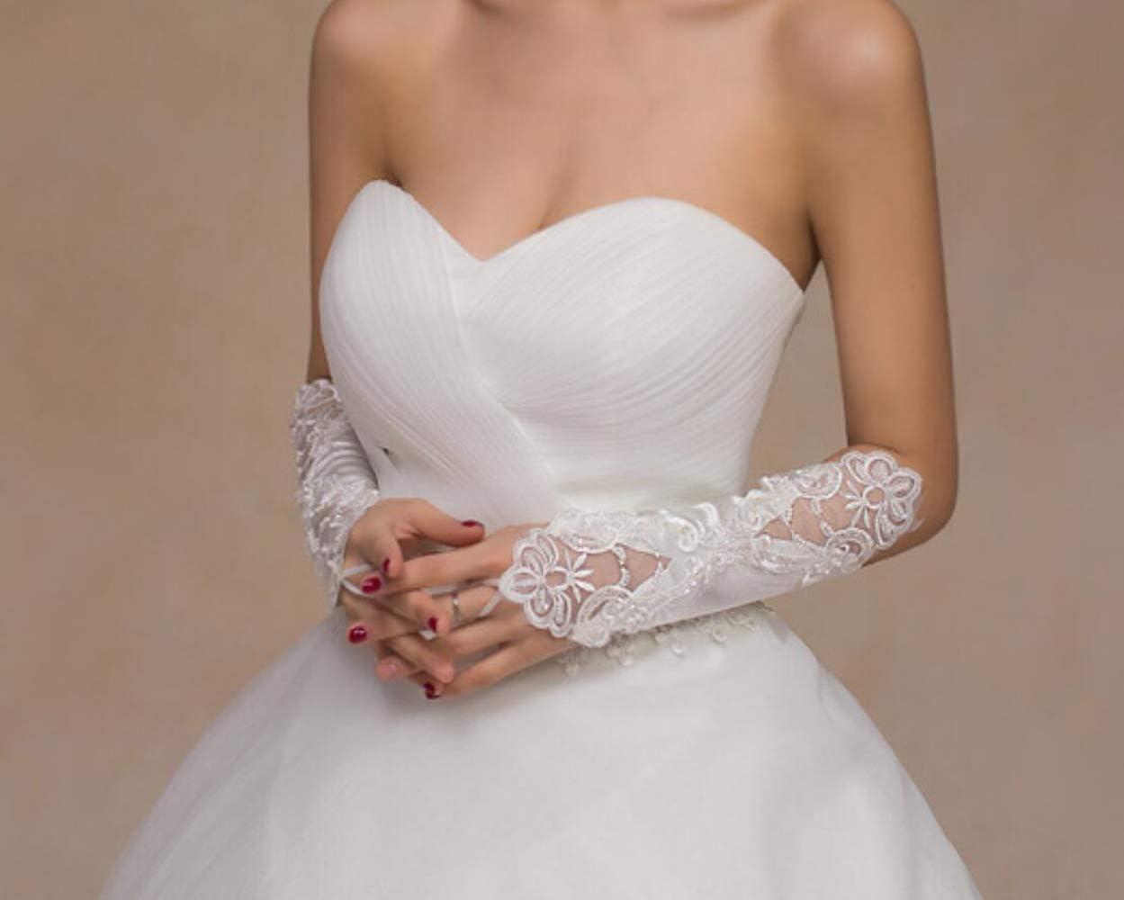 MoreChioce Donna 1 Paio di Elegante Pizzo Guanti Lunghi in Raso,Matrimonio Accessori per Matrimonio,Travestimenti,Carnevale,Ballo,Sera,Festa