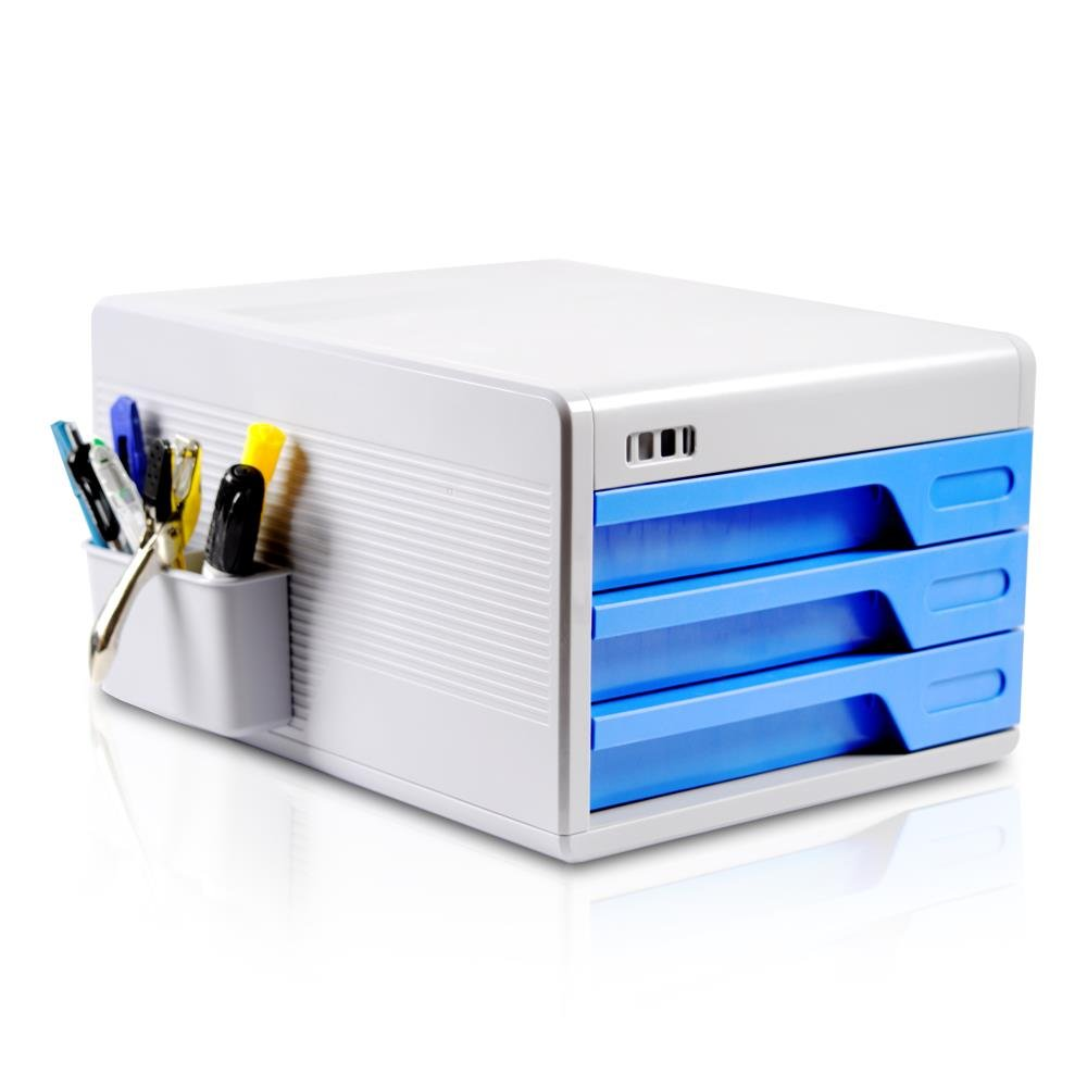 Locking Drawer Cabinet Desk Organizer - Home Office Desktop File Storage Box w/3 Lock Drawers, Great for Filing & Organizing Paper Documents, Tools, Kids Craft Supplies - SereneLife SLFCAB10