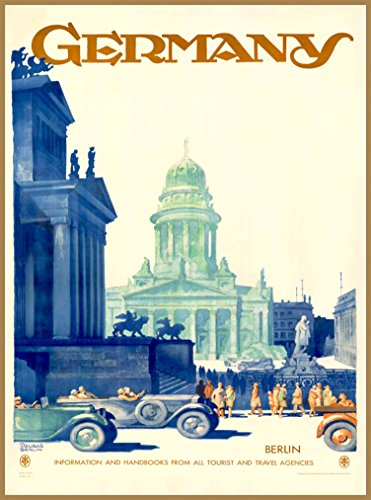 German Vintage Poster - Germany Berlin Vintage German Travel Advertisement Art Collectible Wall Decor Poster Print. Measures 10 x 13.5 inches