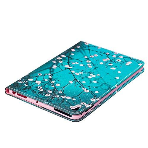 Galaxy Tab S3 T825 Funda,Grandcaser [Billetera Carcasa] Funda de Cuero PU Premium Flip [Función Kickstand] Pintado Patrones Bookstyle Slim Fit Carcasa Protectora para Samsung Galaxy Tab S3 T820/T825 9 Ciruela Nocturna