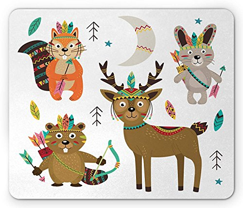 Tribal Mouse Pad, Doodle Animal Figures with Traditional Native American...