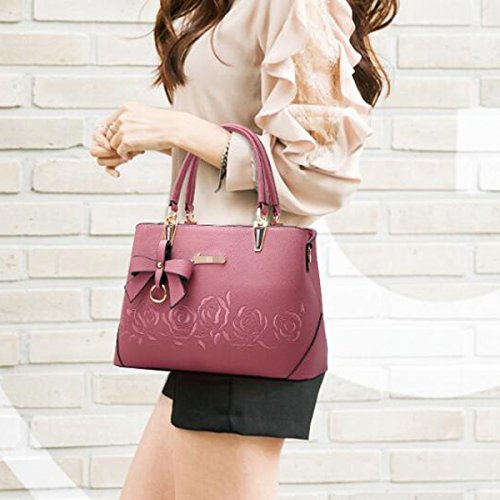 Multicolor Shoulder Pink Fashion Leather Embossing Satchel Tote Women Handbag Rose Lady Pu Bag Pzq6RwOw