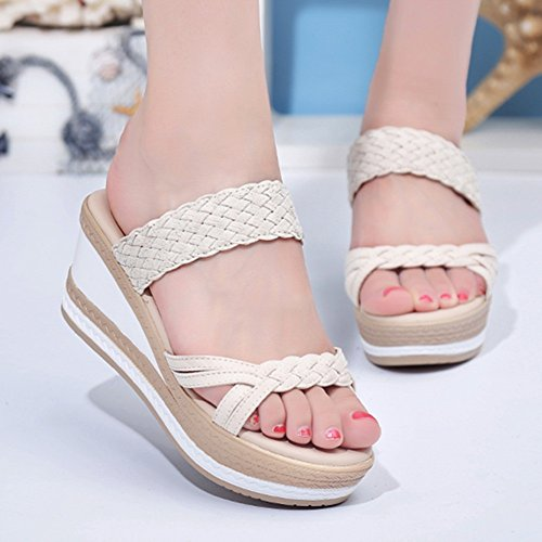 Heel uk6 Walk A cn39 A Zhangrong Wedge colore On Toe Pantofole Eu39 Cushion Con Dimensioni Mid Slip Sandali Zeppa Ladies f04xT6qcwF