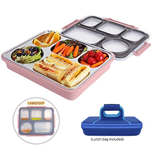 Inoxlife Large Bento Box with Removable Stainless Steel Tray -Leakproof Bento Lunch Box with 5 Compartments for Adults and kids- Lunch Bag Included On-the-Go Meal and Snack Packing ()