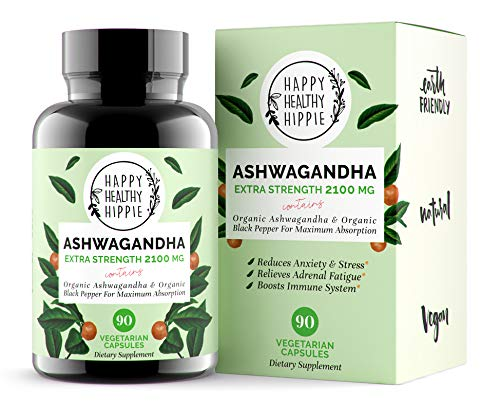 Ashwagandha 2100mg - Fast Superior Absorption - 100% Pure, Potent Organic Ashwagandha Root Powder and Black Pepper - Powerful Natural Stress Relief Supplement - Mood Adrenal Cortisol Anxiety, 90