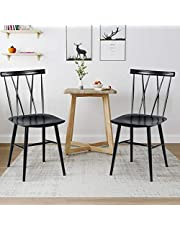 DORTALA Set of 2 Dining Chairs, Black Counter Metal Side Chairs with Curved Backrest, Large Seat, Non-slip Feet, 330LBS Load Bering Capacity, Armless Cross Back Barstool, Modern Style Metal Chairs for Kitchen, Restaurant, Cafe (Height 17'')