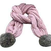 Hemlock Solid Warm Scarves, Autumn Winter Boys Girls Scarfs Knitted Scarf (Pink)