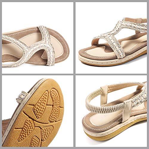 37 Gracosy Romanas Playa Beige Elástica Casuales Mujer De Grande Verano Estilo 2019 Dedo Talla Bohemia 43 Negro Chanclas Planas Sandalias Para Zapatos Cinta qrHwT7qx