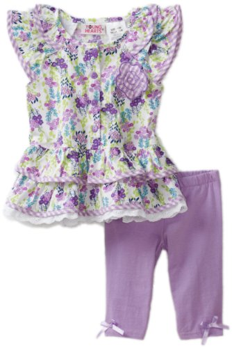Young Hearts Baby Girls' Purple Woven Floral Jersey With Purple Knit Pant Set