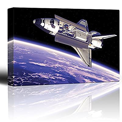 Quality Artwork, Charming Design, Rocketship in Outerspace with View to Planet Earth