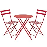 Best Choice Products 3-Piece Portable Folding Metal Bistro Set w/Table and 2 Chairs – Red Review