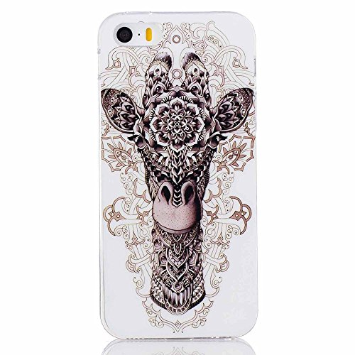 Soft IMD TPU Shell Tasche Hüllen Schutzhülle - Cover Case für iPhone SE/5s/5 - Tribal Giraffe