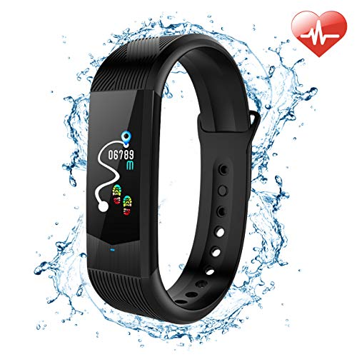 Fitness Tracker, Heart Rate Monitor, Activity Tracker Watch with Sleep Monitor, Smart Fitness Band with Step Counter & Calorie Counter, IP67 Waterproof Pedometer Watch for Women Men Kids, Android& IOS