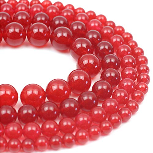 Oameusa Natural Round Smooth 8mm Red Chalcedony Agate Beads Gemstone Loose Beads Agate Beads for Jewelry Making 15