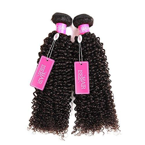 ISEE Hair 9A Grade Mongolian Kinky Curly Hair Extension Virgin Human Hair Weaving 3 Bundles Kinky Curly Virgin Hair 100% Human Hair Weaves Extension Mongolian Virgin Hair (16 18 20 &14'' closure) by ISEE