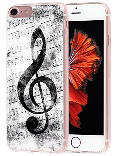 (Case for Phone 7 MUQR Flexible Gel Silicone Slim Drop Proof Protection Cover Compatible with iPhone 8 & Case for Phone 7 Cover Silicone Rubber Protective Music Note Vintage Design)