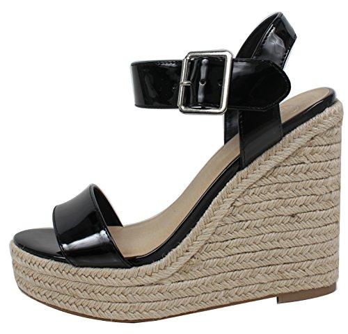 Delicious Women's Open Toe Faux Leather Patent Espadrille Platform Wedge, Black, 55 M - Espadrilles Patent Black