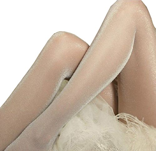 Studded Tights - Sexy DDLIN Glitter Shimmer Pantyhose Shiny Sheer Glossy Stockings (Nude)