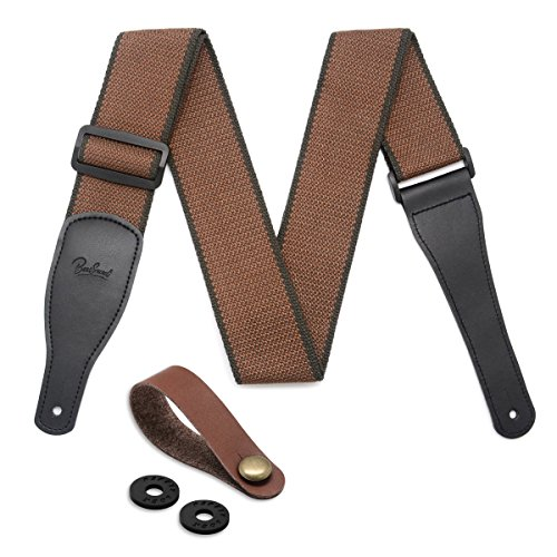 Guitar Strap 100% Soft Cotton & Genuine Leather Ends Guitar Shoulder Strap With Guitar Strap Lock and Button Headstock Adaptor (Coffee) ()