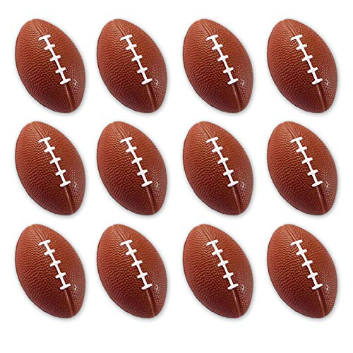 Mini Sports Balls for Kids Party Favor Toy, Soccer Ball, Basketball, Football, Baseball (12 Pack) Squeeze Foam for Stress, Anxiety Relief, Relaxation. (12 Pack (Footballs)) ()