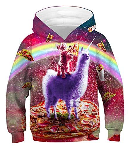 PIZOFF Unisex Unicorn Alpaca Cat Hoodie for Girls 3D Print Graphic Pullover Hoodie Sweatshirts Pocket for 3-14T (Kids Alpaca Sweater)