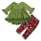 2PC Toddler Little Girls Ruffle Flare Tunic Dress Top Floral Leggings Pants Fall Winter Outfit Set Clothes (6-12 Months, Green)