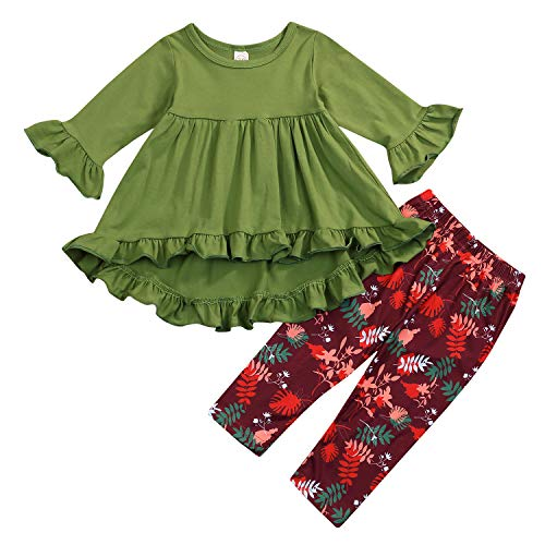 2PC Toddler Little Girls Ruffle Flare Tunic Dress Top Floral Leggings Pants Fall Winter Outfit Set Clothes (18-24 Months, Green)