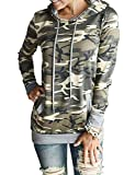Women's Camo Pullover Sweaters Hoodies Clothing Casual Hooded Loose shirts (XL, Camo Yellow)