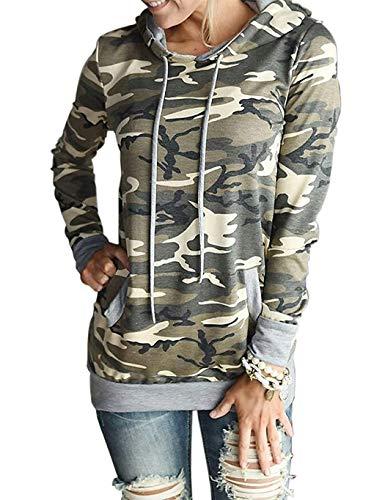 Shirt Camouflage Top (Women's Camouflage Print Pullover Sweatshirts Pocket Kangaroo Shirt Tops (M, Camo Yellow))