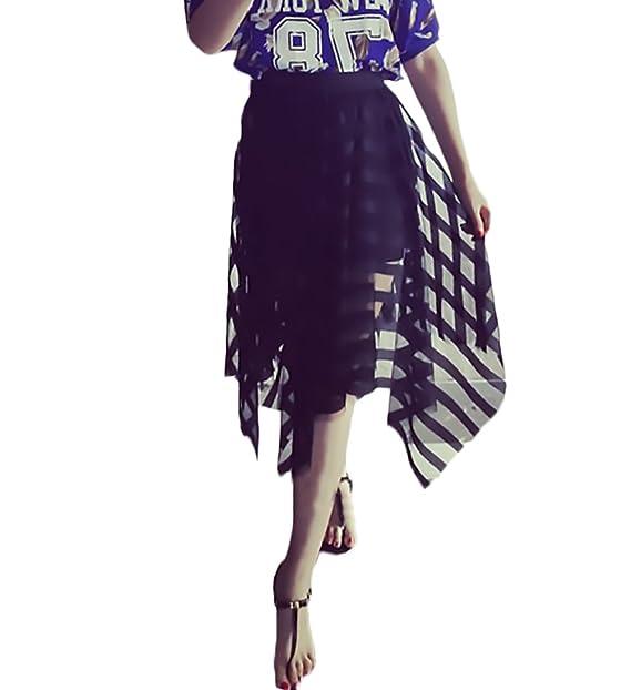 50c530b236 Adelina Faldas Mujer Elegantes Transparente Encaje De Malla Falda Cintura  Ropa Fiesta Modernas Alta Irregular Hippies Moda Dulce Casual Faldas Largas   ...