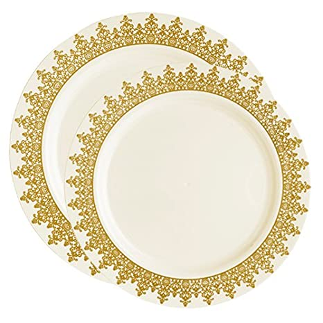Amazon.com: Posh Party Supplies | Upscale Pretty Ivory with Gold ...