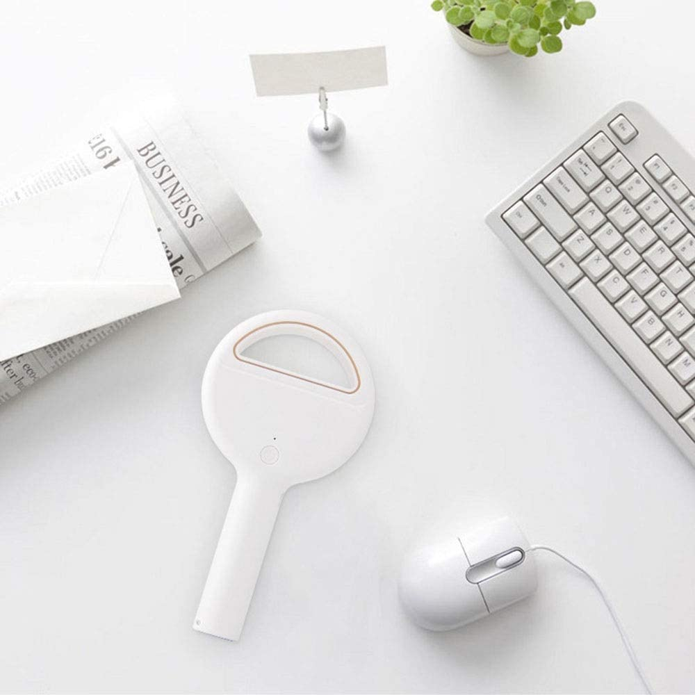 Size 9.5 3.5 18.5cm Low Noise Environmentally Friendly Material Low Noise Fengkuo Round White USB Portable Large Air Volume Handheld Leafless Fan