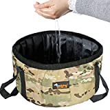 Ondoing Collapsible Bucket Portable Folding Water Container Basin Camping Hiking Fishing Outdoors, Camo Green, M
