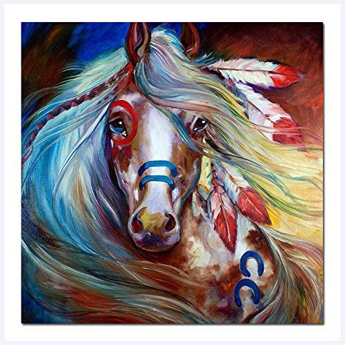 Faicai Art Fearless Indian War Horses Wall Art Canvas Prints Colorful Abstract Animal Paintings Modern HD Printed Oil Painting Home Decor Picture