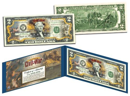 Civil War Currency - American CIVIL WAR Battle of Fort Sumter Legal Tender U.S. Colorized $2 Bill by Merrick Mint