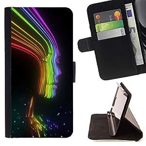 Momo Phone Case / Flip Funda de Cuero Case Cover - Rayos Rainbow Negro señora Woman Chica - Samsung Galaxy Note 5 5th N9200