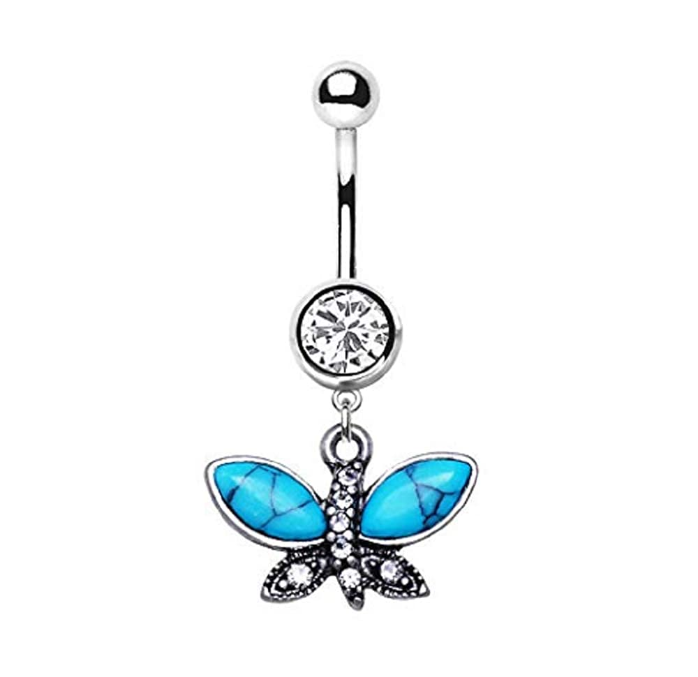 Freedom Fashion 316L Surgical Steel Navel Ring with Butterfly Sold by Piece
