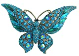"Elegant Art Style 3.74"" Turquoise Green Rhinestone Crystal Butterfly Animal Brooch Pin Pendant BZ4538"