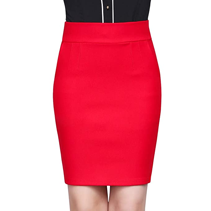DISSA CA1116 - Mini Falda para Mujer (Cintura Alta) Rojo 44 EU=3XL ...