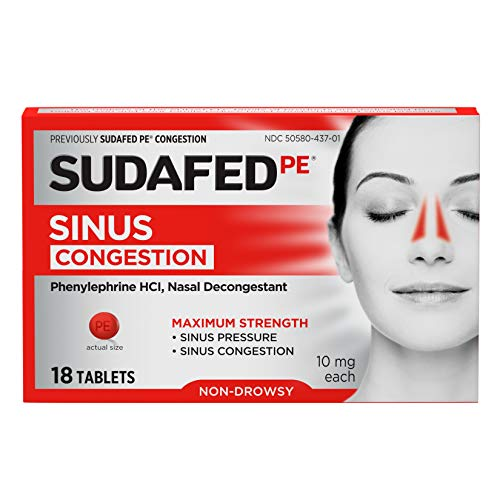Sudafed PE Sinus Congestion Maximum Strength Non-Drowsy Decongestant Tablets, 18 ct