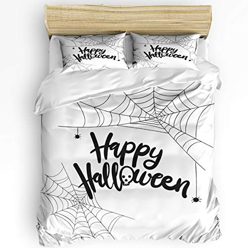 (3 Piece Bedding Set Queen, Halloween Spider Web Duvet Cover Set for Girls Boys Children Adult, Ultra Soft and Easy Care Sheet Quilt Sets with Decorative Pillow)