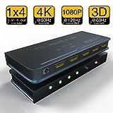 HDMI Splitter 1 x 4, NewBEP 1 Input 4 Output HDMI Amplifier Switcher Box V1.4b Video Converter Hub Support 4K X 2K 3D 1080p HDCP 1.4 (One Input To Four Outputs)