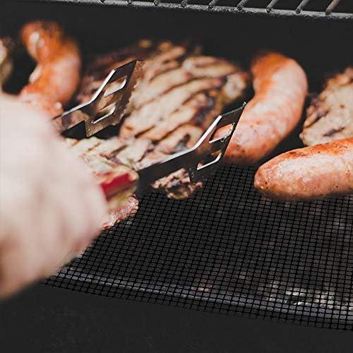 Gshy Grille Barbecue Tapis de Cuisson Fibre de Verre Réutilisable Outil de Barbecue Anti-Adhésif Extérieur Noir 2 Pièces/Paquet