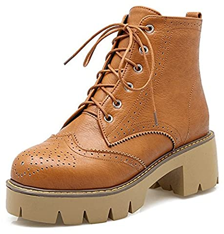Summerwhisper Women's Vintage Round Toe Lace up Brogue Boots Shoes Block Medium Heel Platform Ankle Booties Brown 9.5 B(M) US