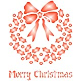 """Christmas Wreath Stencil (size 3.25""""w x 4""""h) Reusable Stencils for Painting - Best Quality Christmas Project Ideas - Use on Walls, Floors, Fabrics, Glass, Wood, Cards, and More…"""