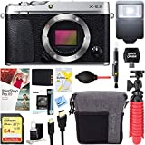 Fujifilm X-E3 24.3 MP Mirrorless Digital Camera Body (Silver) + 64GB Memory & Flash Accessory Bundle