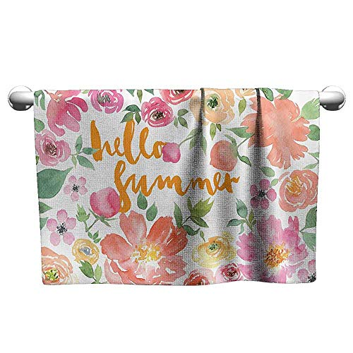 (DUCKIL Luxury Hand Towels Summer Decor Collection Flower Rose Wreath Classic Frame Border with Hello Summer Note Congratulation Event Image Custom Bath Sheet 20 x 20 inch Pink Coral)