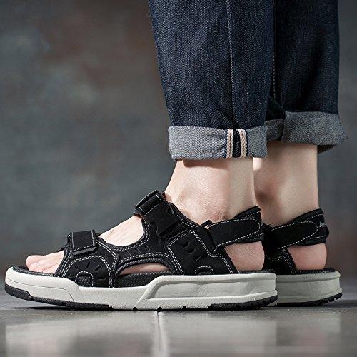 Xing Lin Sandalias De Hombre Sandalias De Verano De Nueva Sandalias De Cuero Para Hombres Sandalias En El Medio De Vida Y Conducir Fuera De Las Puertas Para El Exterior Zapatillas gray