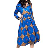 Women's Vintage Maxi Dresses Floral Print V Neck Long Sleeve Hat Dress with Belt (Blue, M)